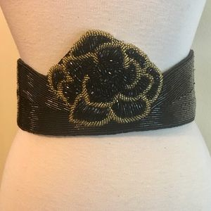 Vintage André Cellini Evening Belt Black Beaded